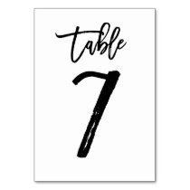 Chic Hand Lettered Table Number Card | Table 7