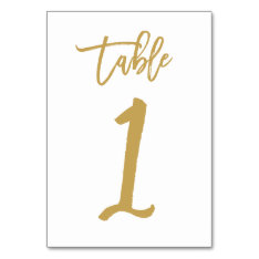 Chic Hand Lettered Table Number Gold  | Table 1 at Zazzle