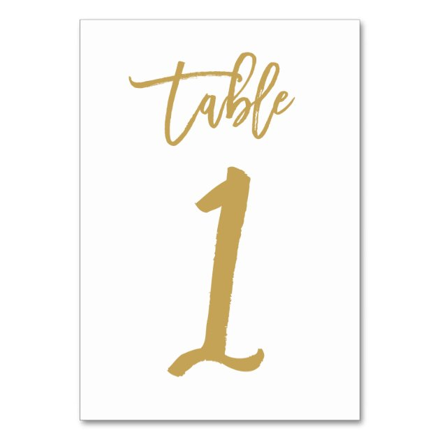 chic hand lettered table number gold table 1