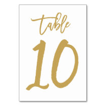 Chic Hand Lettered Table Number Gold | Table 10