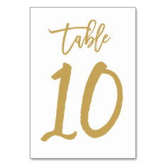 Chic Hand Lettered Table Number Gold | Table 10 at Zazzle