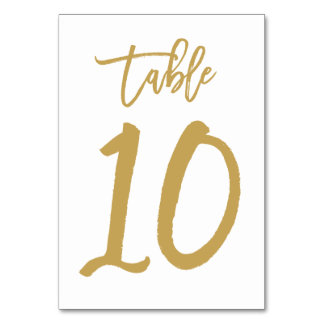 Chic Hand Lettered Table Number Gold | Table 10 Card
