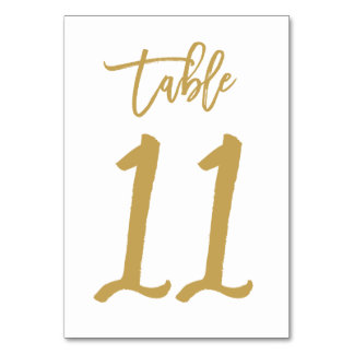 Chic Hand Lettered Table Number Gold | Table 11 Card