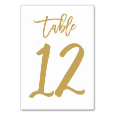 Chic Hand Lettered Table Number Gold | Table 12 at Zazzle