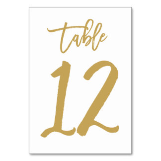 Chic Hand Lettered Table Number Gold | Table 12 Card