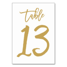 Chic Hand Lettered Table Number Gold | Table 13 at Zazzle