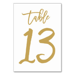 Chic Hand Lettered Table Number Gold | Table 13