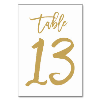 Chic Hand Lettered Table Number Gold | Table 13 Card