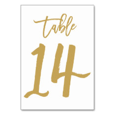 Chic Hand Lettered Table Number Gold | Table 14 at Zazzle