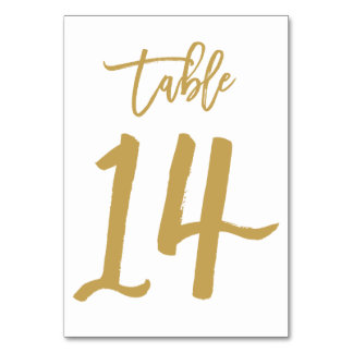 Chic Hand Lettered Table Number Gold | Table 14 Card