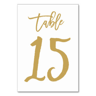 Chic Hand Lettered Table Number Gold | Table 15 Card