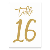 Chic Hand Lettered Table Number Gold | Table 16
