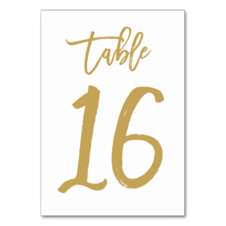 Chic Hand Lettered Table Number Gold | Table 16 Card
