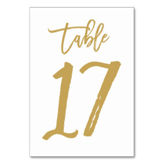 Chic Hand Lettered Table Number Gold | Table 17 Card