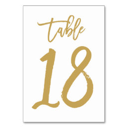 Chic Hand Lettered Table Number Gold | Table 18