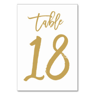 Chic Hand Lettered Table Number Gold | Table 18 Card