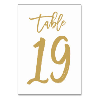 Chic Hand Lettered Table Number Gold | Table 19 Card