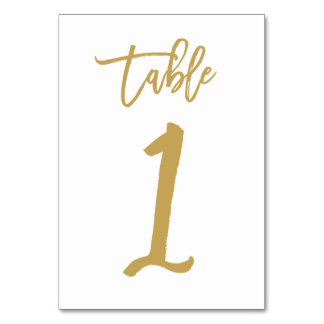 Chic Hand Lettered Table Number Gold  | Table 1 Card