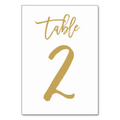 Chic Hand Lettered Table Number Gold | Table 2 at Zazzle