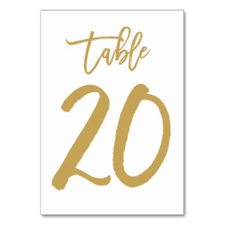 Chic Hand Lettered Table Number Gold | Table 20 Card