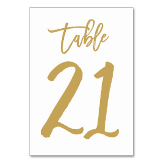 Chic Hand Lettered Table Number Gold | Table 21 Card