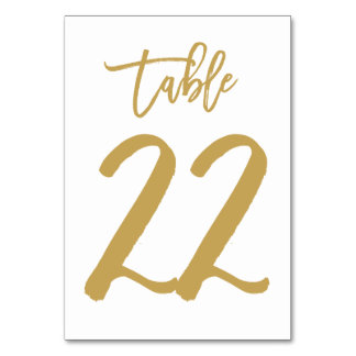 Chic Hand Lettered Table Number Gold | Table 22 Card