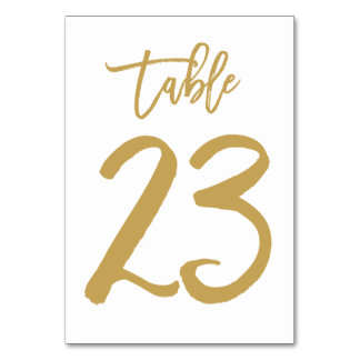 Chic Hand Lettered Table Number Gold | Table 23 Card