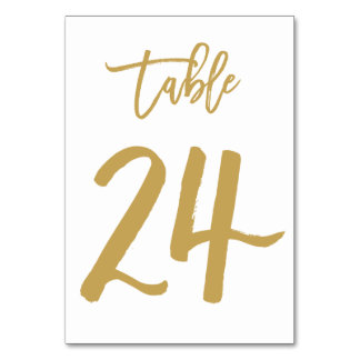 Chic Hand Lettered Table Number Gold | Table 24 Card