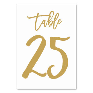 Chic Hand Lettered Table Number Gold | Table 25 Card