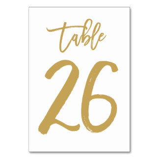 Chic Hand Lettered Table Number Gold | Table 26 Card