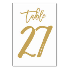 Chic Hand Lettered Table Number Gold | Table 27