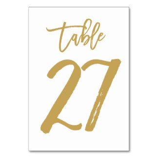 Chic Hand Lettered Table Number Gold | Table 27 Card
