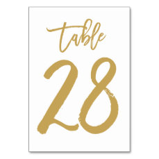 Chic Hand Lettered Table Number Gold | Table 28