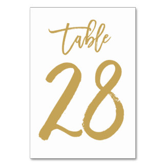 Chic Hand Lettered Table Number Gold | Table 28 Card