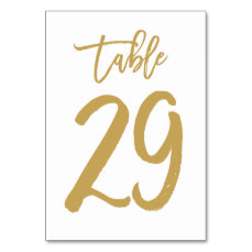 Chic Hand Lettered Table Number Gold | Table 29