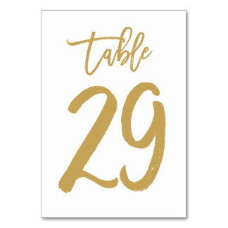 Chic Hand Lettered Table Number Gold | Table 29 Card