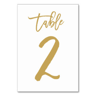 Chic Hand Lettered Table Number Gold | Table 2 Card