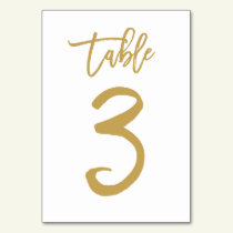 Chic Hand Lettered Table Number Gold | Table 3