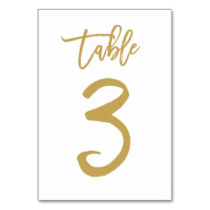 Chic Hand Lettered Table Number Gold | Table 3 at Zazzle
