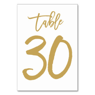 Chic Hand Lettered Table Number Gold | Table 30 Card