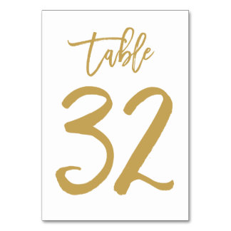 Chic Hand Lettered Table Number Gold | Table 32