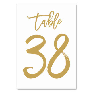 Chic Hand Lettered Table Number Gold | Table 38