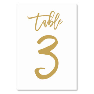 Chic Hand Lettered Table Number Gold | Table 3 Card