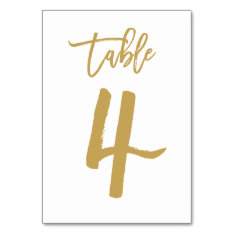 Chic Hand Lettered Table Number Gold | Table 4 at Zazzle