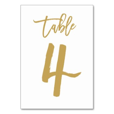 Beach Themed Chic Hand Lettered Table Number Gold | Table 4