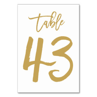 Chic Hand Lettered Table Number Gold | Table 43