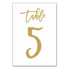 Chic Hand Lettered Table Number Gold | Table 5 at Zazzle