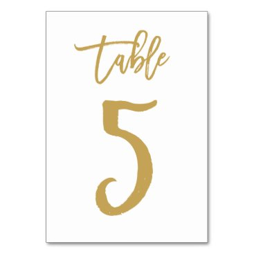 Beach Themed Chic Hand Lettered Table Number Gold | Table 5