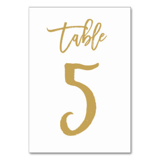 Chic Hand Lettered Table Number Gold | Table 5 Card