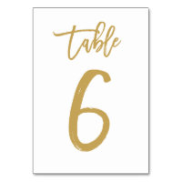 Chic Hand Lettered Table Number Gold | Table 6